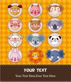 Cartoon animal face card — Stock Vector