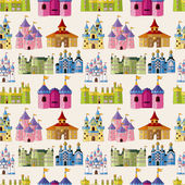 Cartoon Fairy tale castle seamless pattern — Stockvector