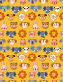 Cartoon animal face seamless pattern — Stock Vector