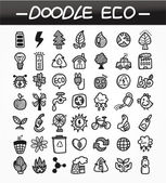 Cartoon doodle eco icon set — Stock Vector