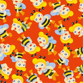 Cartoon bee boy seamless pattern — Stock Vector