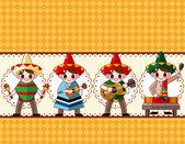 Cartoon Mexican music band ,board card,vector — Stock Vector