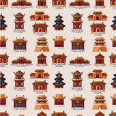 Cartoon Chinese house seamless pattern — Vecteur
