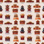 Modèle sans couture de dessin animé chinois maison — Vecteur