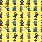 Cartoon Fireman seamless pattern — Stock Vector