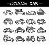 Doodle cartoon auto pictogrammenset — Stockvector