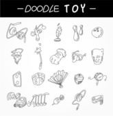 Hand draw toy element icons set — Stock Vector