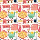 Cartoon pink furniture seamless pattern — Stock Vector