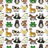 Cartoon animal seamless pattern — Stock Vector