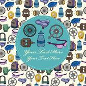 Cartoon bicycle equipment seamless pattern — Stock Vector