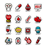 Hand draw cartoon Medical and Hospital icons set — 图库矢量图片