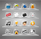 ícones de site internet, botão de vidro transparente — Vetorial Stock