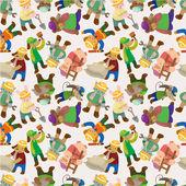 Cartoon animal worker seamless pattern — Stock Vector
