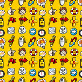 Cartoon hand draw web icons seamless pattern with yellow background — Stock Vector