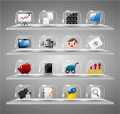 Website internet pictogrammen, transparant glas knop — Stockvector
