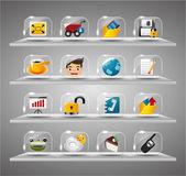 Website Internet Icons ,Transparent Glass Button — Stock Vector