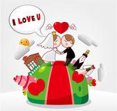 Cartoon wedding card — Stock Vector