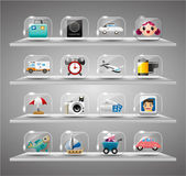 Cute travel icons collection,Transparent glass button — Stock Vector