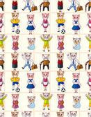 Cartoon cat family seamless pattern — Stock vektor