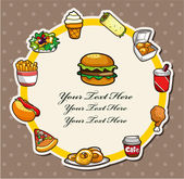 Cartoon fast-food card — Stockvector