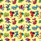 Cartoon fire dragon seamless pattern — Stock Vector