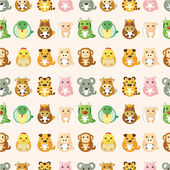 Chinese Zodiac animal seamless pattern — Stock Vector