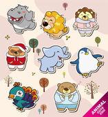 Cartoon animal Stickers icons — Stock Vector