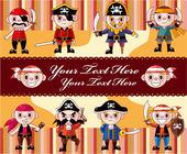 Cartoon pirate card — Stock Vector