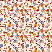 Cartoon circus seamless pattern — Stock Vector