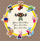 Cartoon animal sport card — Stock Vector