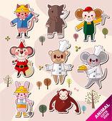 Cartoon animal icons — Stock Vector