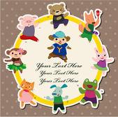мультфильм животных танец карт — Cтоковый вектор