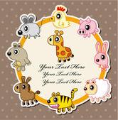 Cartão de animais dos desenhos animados — Vetorial Stock