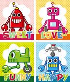 Cartoon robot card — Stock Vector
