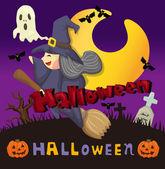 Cartoon Halloween card — Stock Vector