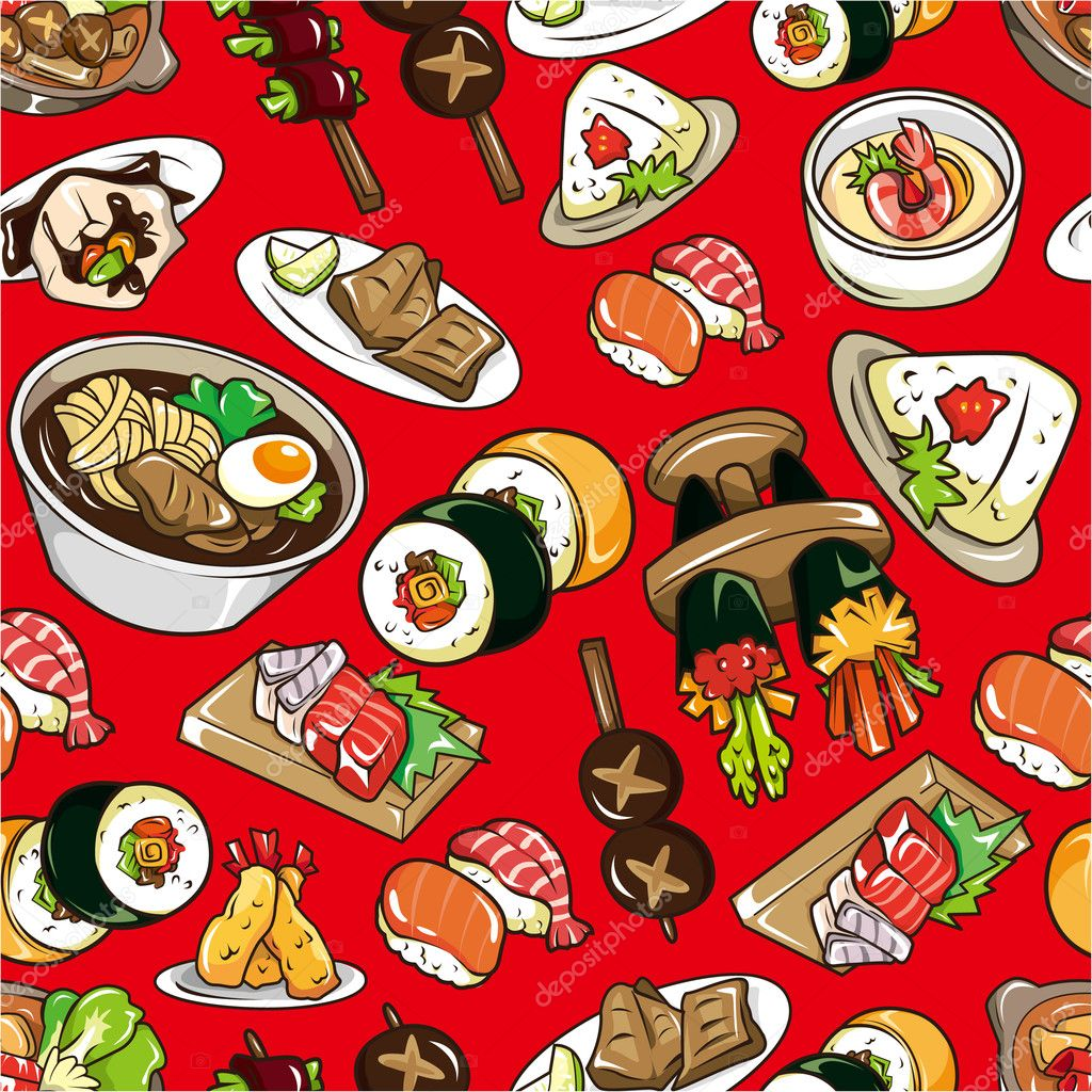 Seamless Japanese food pattern  Stock Vector #7861906