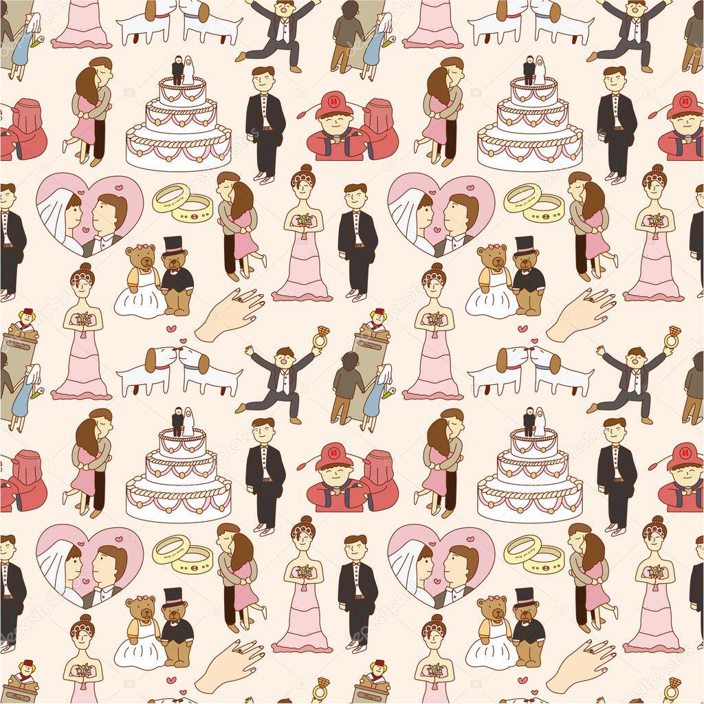 Seamless wedding pattern stock illustration
