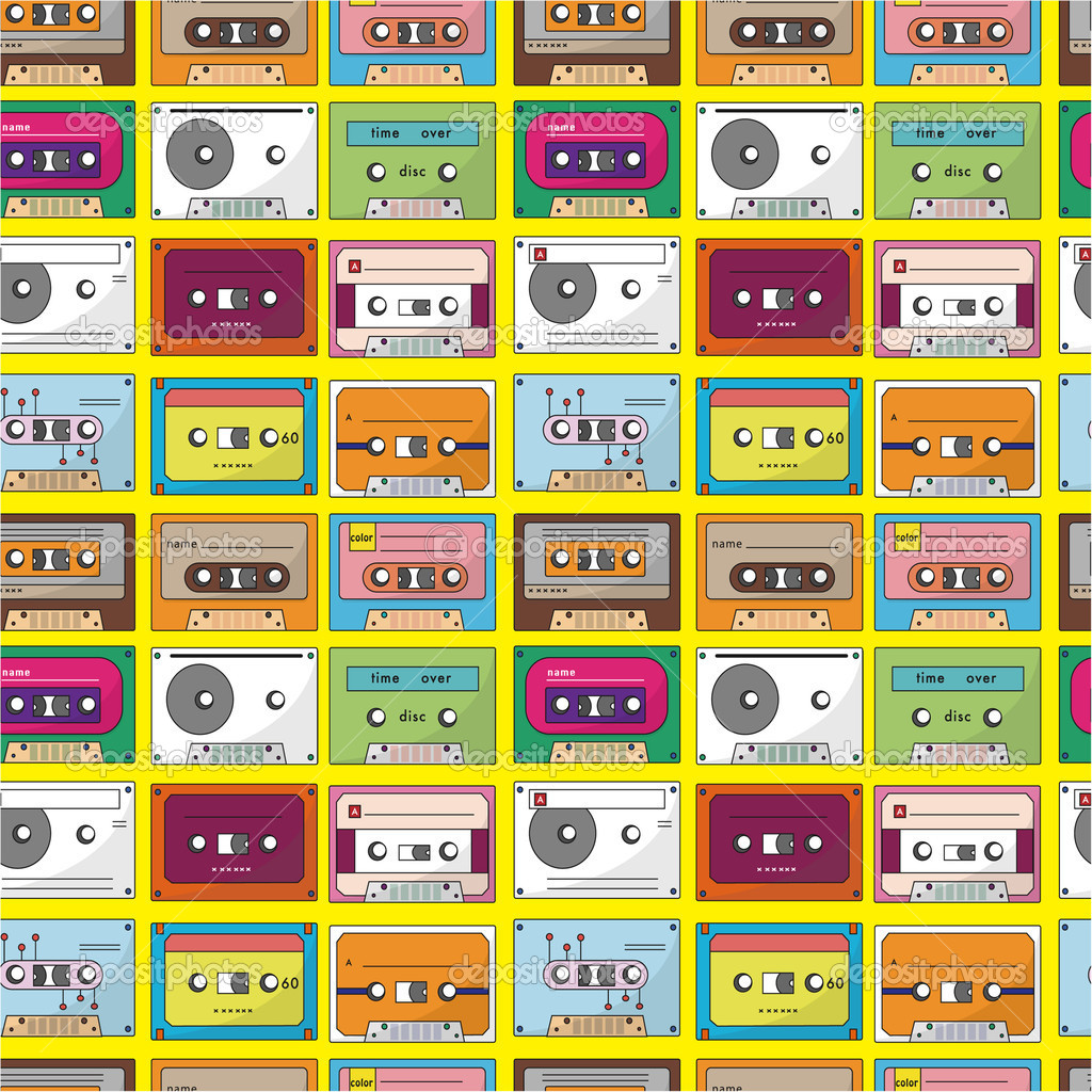 Music tape seamless pattern  Stock Vector #7863393