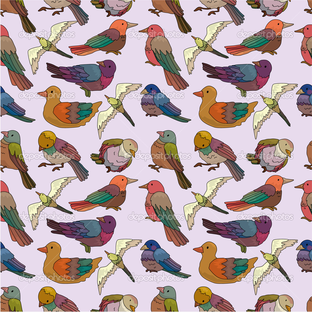 Cartoon bird seamless pattern — Stock Vector #7863754