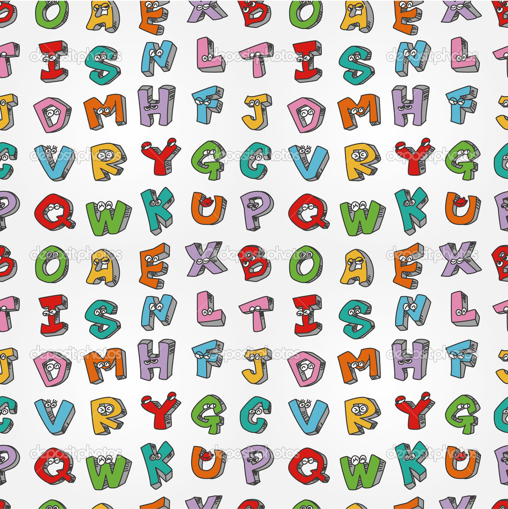 Monster letters seamless pattern — Stock Vector #7863803