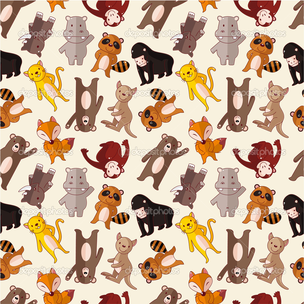 Cartoon animal seamless pattern  Stock Vector #7863804