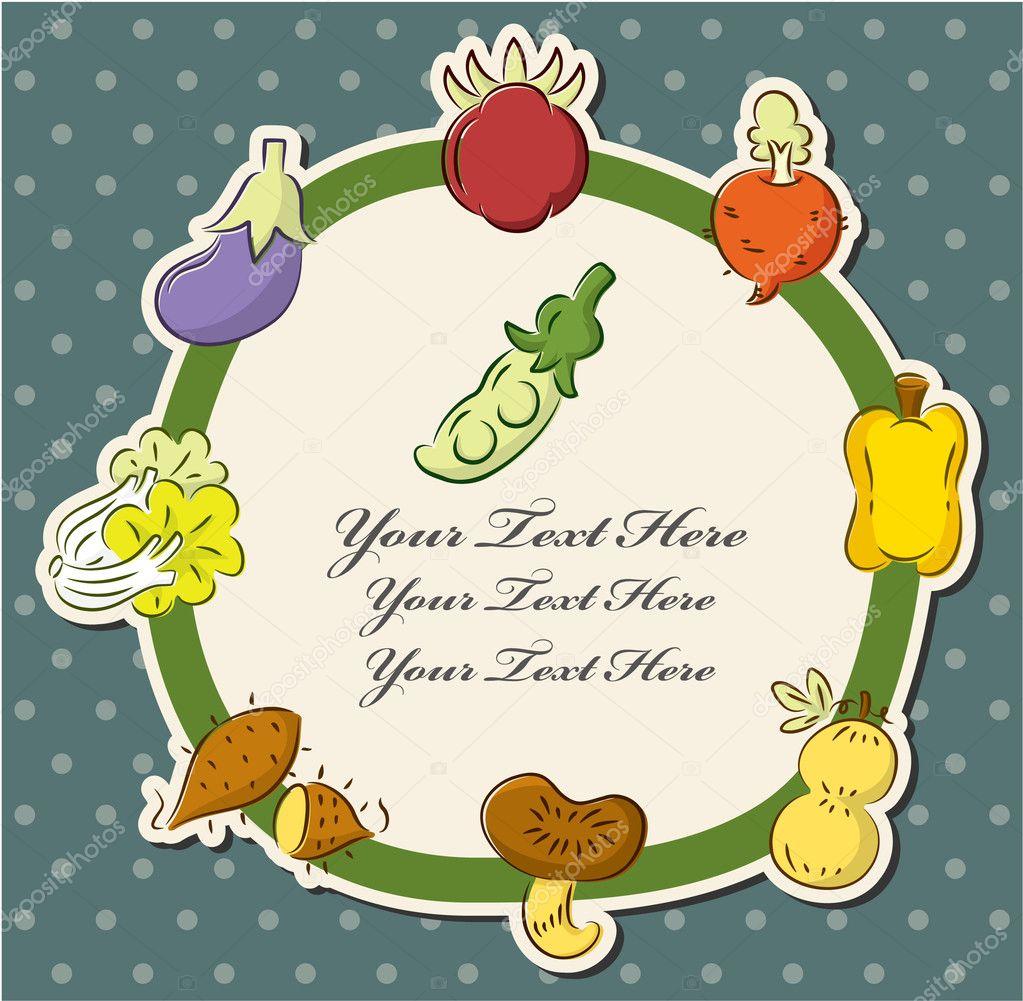 卡通保健水果和蔬菜卡