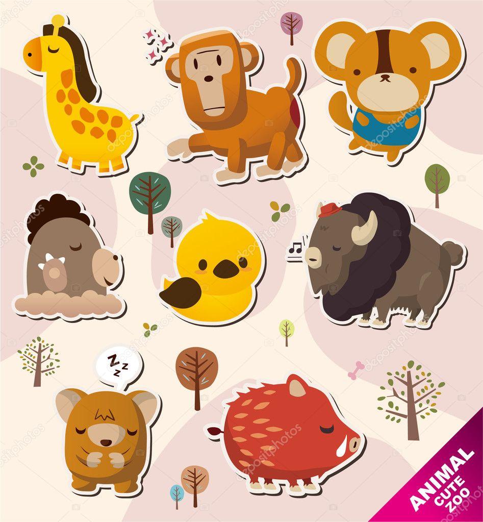 卡通动物贴纸图标 — 矢量图片作者