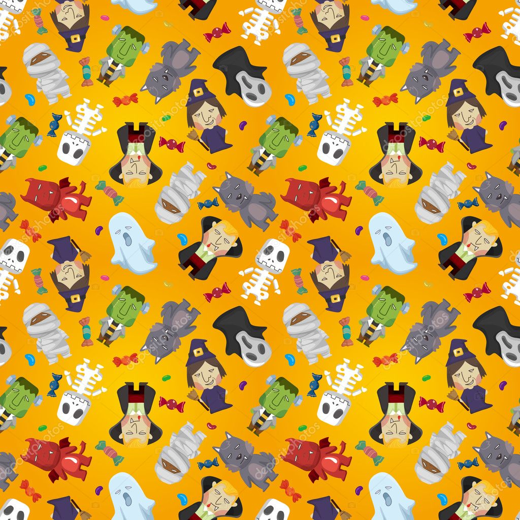 Cartoon Halloween holiday monster seamless pattern  Stok Vektr #7864790