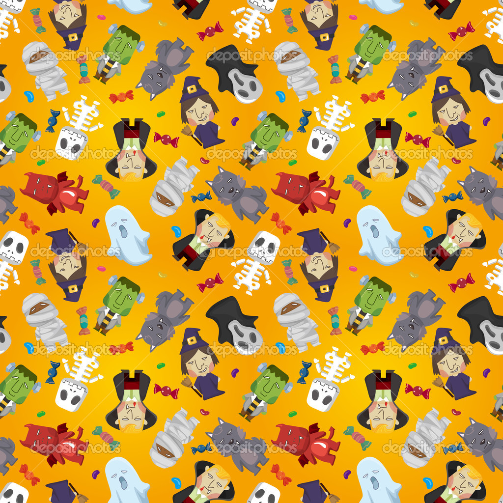 Cartoon Halloween holiday monster seamless pattern — ベクター素材ストック #7864790