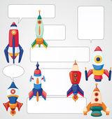 Cartoon spaceship card — Stock Vector