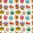 Cartoon Fairy tale castle seamless pattern — Stock Vector #7934660