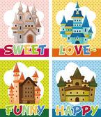 Cartoon castle card — Stock vektor