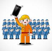 Cartoon fix worker team — Stock Vector