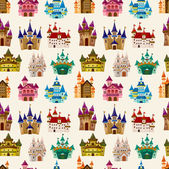 Cartoon Fairy tale castle seamless pattern — Stock Vector